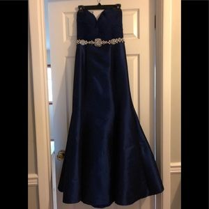 Strapless royal blue gown